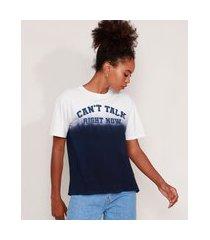 """t-shirt de algodão can't talk"""" com degradê manga curta decote redondo mindset azul marinho"""""""