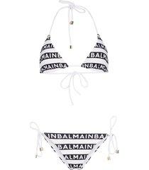 balmain stripe logo triangle bikini - white