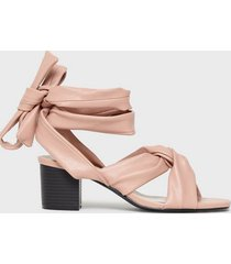 nly shoes knot heel sandal lace up