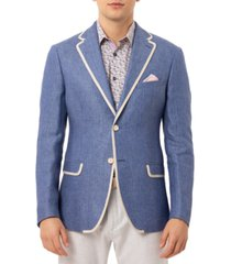 tallia orange men's slim-fit blue & white dot linen sport coat