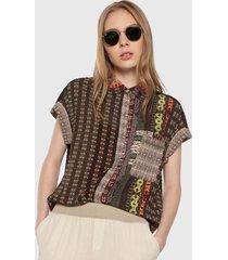 camisa caqui-multicolor desigual