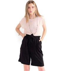 blusa para mujer cuello redondo, manga corta, semitransparente color-rosa-mag-talla-l
