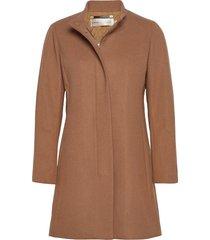levannaiw crew coat wollen jas lange jas bruin inwear