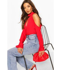 choker plunge cold shoulder top, red
