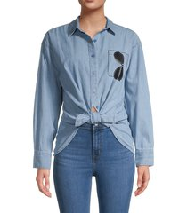 karl lagerfeld paris women's sunglasses in pocket button down shirt - beach wash - size l