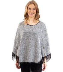 poncho tricô com franjas e zíper sumaré 31038