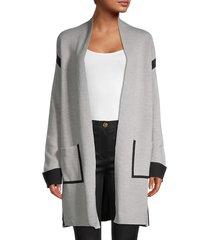 t tahari women's contrast-trim cardigan - morning mist grey - size l