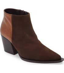 women's intentionally blank phantom point toe suede bootie, size 10 m - brown
