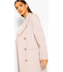 luxe geborstelde nepwollen jas met dubbele knopen, lilac