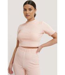 na-kd basic ribbad, croppad t-shirt - pink