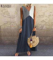 zanzea vestido sin mangas con cuello en v y playa larga para mujer vestidos de fiesta sueltos de kaftan -azul marino