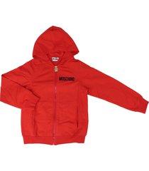 moschino hooded full zip sweatshirt