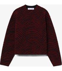 proenza schouler white label animal jacquard sweater burgundy/black/red l