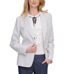 tommy hilfiger striped elbow-patch blazer, created for macy's
