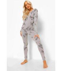 tall vlinder pyjama set met lange mouwen, grey