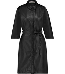 imitatieleren midi jurk peloma  zwart