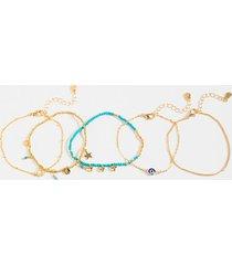 women's esme evil eye bracelet set in blue by francesca's - size: one size
