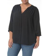 plus size women's nydj pintuck pleat crepe blouse, size 0x - black