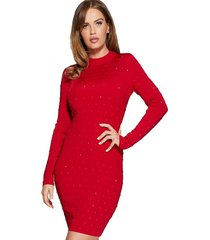 vestido g marciano rich sweater dress g5f0 rojo guess