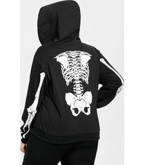 halloween skeleton pattern plus size zip hoodie
