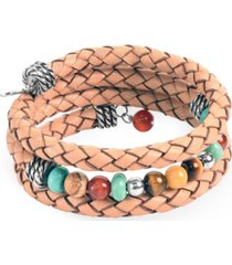 american west by carolyn pollack sterling silver multi-colored beads and braided leather coil bracelet