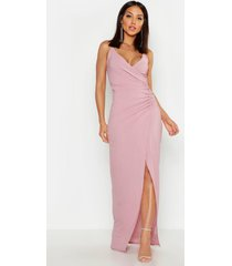 crepe plunge wrap detail maxi dress, mauve