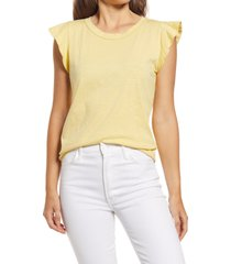 caslon(r) flutter sleeve cotton blend tee, size large in yellow citron at nordstrom