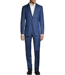 slim-fit striped wool-blend suit