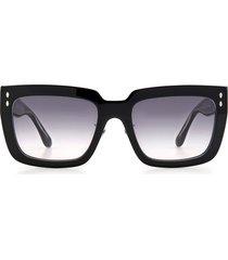women's isabel marant 55mm rectangle sunglasses - black/ grey shaded
