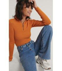 na-kd stickad tröja med dragkedja - orange