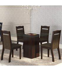 mesa de jantar 4 lugares break ameixa/chocolate - mobilarte
