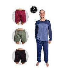 kit pijama masculino serra e mar modas longo e samba canção malha multicolorido