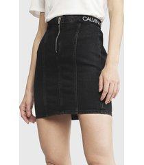 falda calvin klein jeans bb188   icn black elastic zip negro - calce ajustado