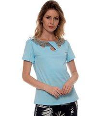 camiseta bisô decote trançado feminina