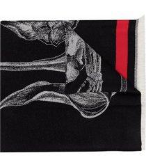 alexander mcqueen skeleton logo-print scarf