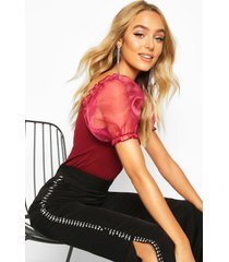 bardot organza sleeve rib top, wine