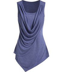 asymmetric draped overlap tank top