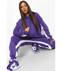 petite oversized colour block hoodie, purple