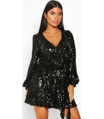 petite balloon sleeve wrap sequin mini dress, black