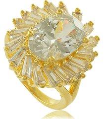 anel oval raios de luz em zircônias branca 3rs semijoias dourado