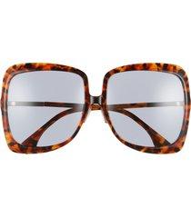 women's fendi 62mm oversize square sunglasses - havana brown/ grey blue