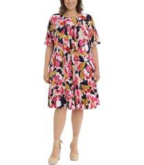 london times plus size printed jewel-neck drop-shoulder shift dress