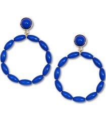 zenzii gold-tone beaded drop hoop earrings