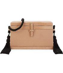 hunting season women's mini square trunk lizard leather-trim satin crossbody bag - taupe