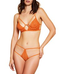 hauty soft cup caged lace bralette, size x-small in orange at nordstrom