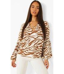 geweven dierenprint blouse, brown