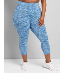 lane bryant women's livi high-rise wicking capri legging - space dye 38/40 blue