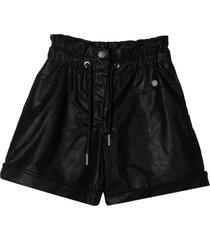 alberta ferretti black faux leather shorts