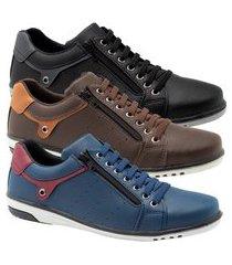 kit 3 sapatênis masculino casual preto, café e azul com ziper starfox