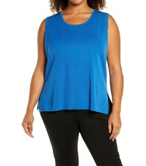 ming wang scoop neck knit tank, size 3x in brilliant blue at nordstrom